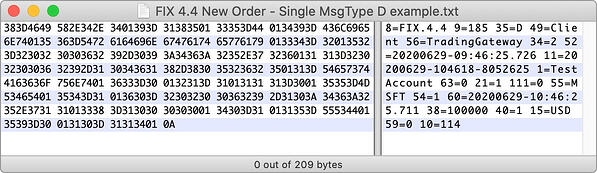 FIX 4.4 New Order - Single MsgType D example